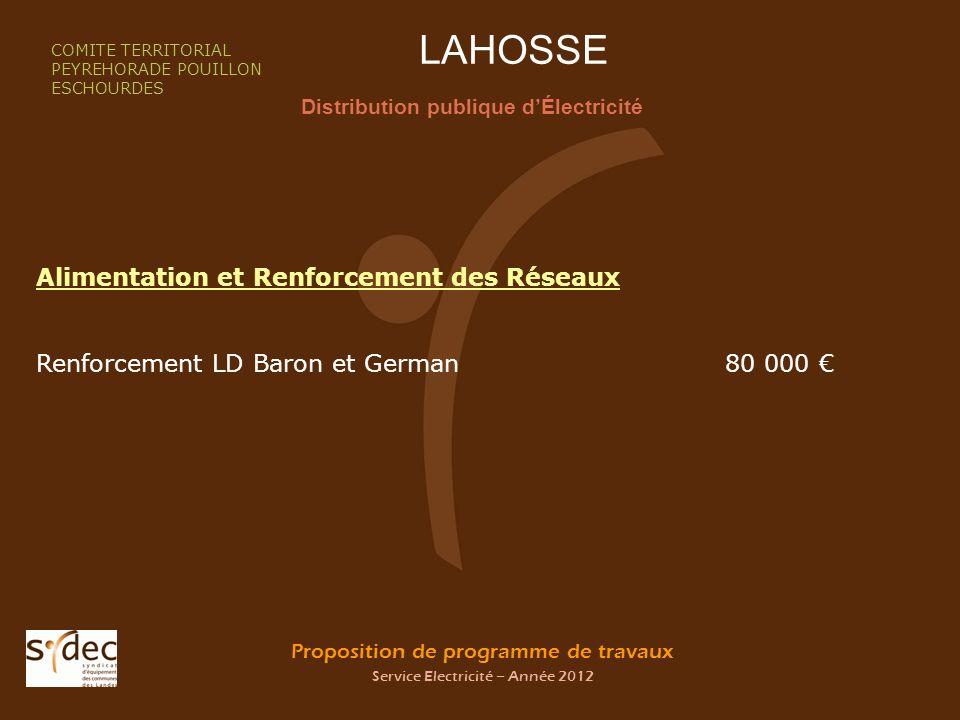 Proposition de programme de travaux Service Electricité – Année 2012 LAHOSSE Distribution publique dÉlectricité COMITE TERRITORIAL PEYREHORADE POUILLO
