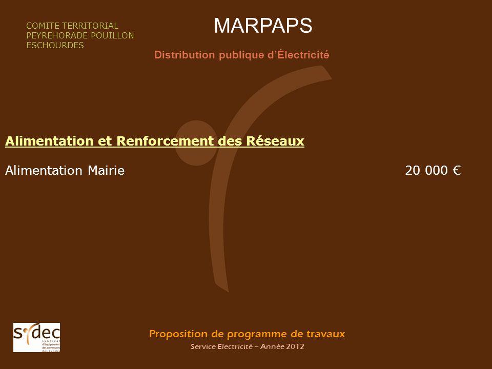 Proposition de programme de travaux Service Electricité – Année 2012 MARPAPS Distribution publique dÉlectricité COMITE TERRITORIAL PEYREHORADE POUILLO