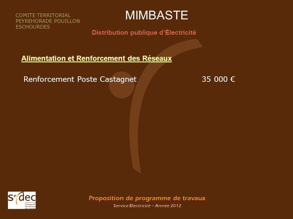 Proposition de programme de travaux Service Electricité – Année 2012 MIMBASTE Distribution publique dÉlectricité COMITE TERRITORIAL PEYREHORADE POUILL
