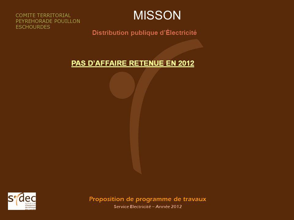 Proposition de programme de travaux Service Electricité – Année 2012 MISSON Distribution publique dÉlectricité COMITE TERRITORIAL PEYREHORADE POUILLON