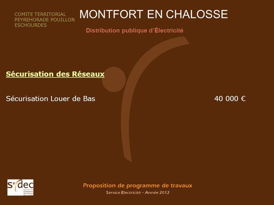 Proposition de programme de travaux Service Electricité – Année 2012 MONTFORT EN CHALOSSE Distribution publique dÉlectricité COMITE TERRITORIAL PEYREH