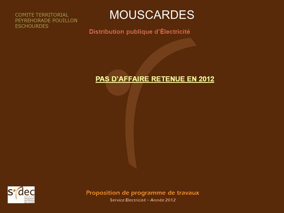 Proposition de programme de travaux Service Electricité – Année 2012 MOUSCARDES Distribution publique dÉlectricité COMITE TERRITORIAL PEYREHORADE POUI
