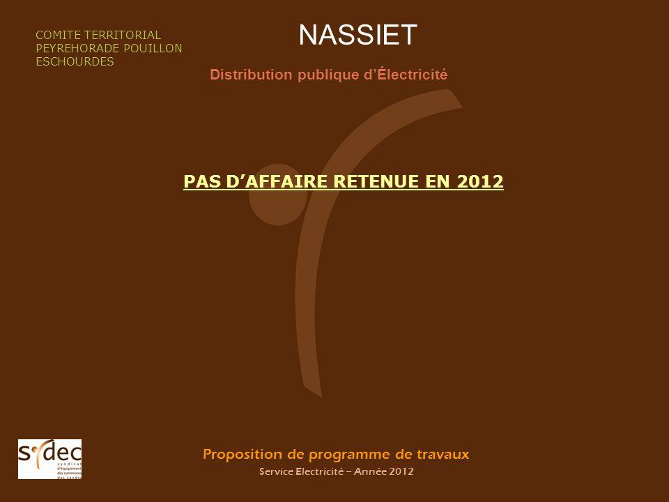 Proposition de programme de travaux Service Electricité – Année 2012 NASSIET Distribution publique dÉlectricité COMITE TERRITORIAL PEYREHORADE POUILLO
