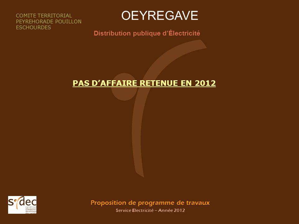 Proposition de programme de travaux Service Electricité – Année 2012 OEYREGAVE Distribution publique dÉlectricité COMITE TERRITORIAL PEYREHORADE POUIL