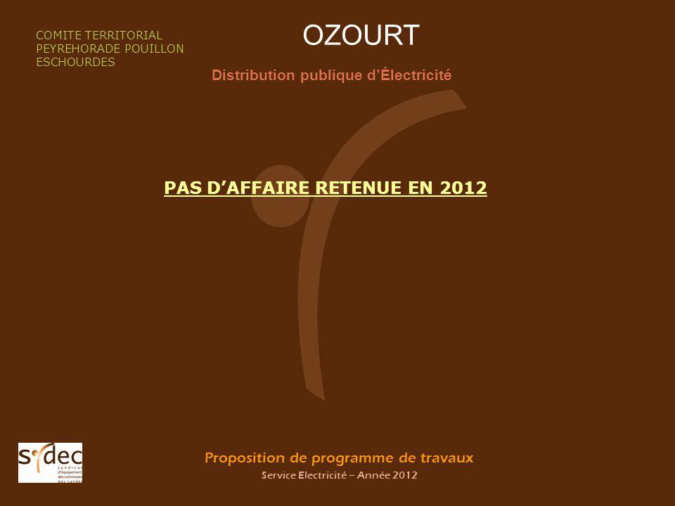 Proposition de programme de travaux Service Electricité – Année 2012 OZOURT Distribution publique dÉlectricité COMITE TERRITORIAL PEYREHORADE POUILLON