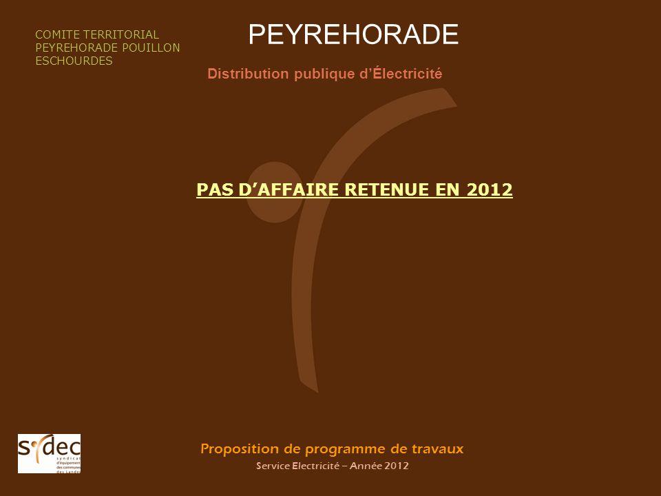 Proposition de programme de travaux Service Electricité – Année 2012 PEYREHORADE Distribution publique dÉlectricité COMITE TERRITORIAL PEYREHORADE POU