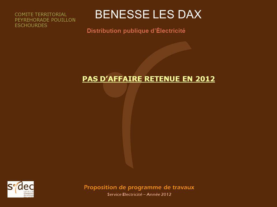 Proposition de programme de travaux Service Electricité – Année 2012 BENESSE LES DAX Distribution publique dÉlectricité COMITE TERRITORIAL PEYREHORADE