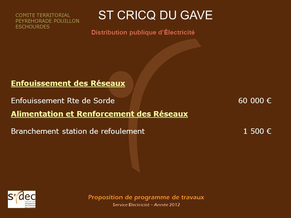 Proposition de programme de travaux Service Electricité – Année 2012 ST CRICQ DU GAVE Distribution publique dÉlectricité COMITE TERRITORIAL PEYREHORAD