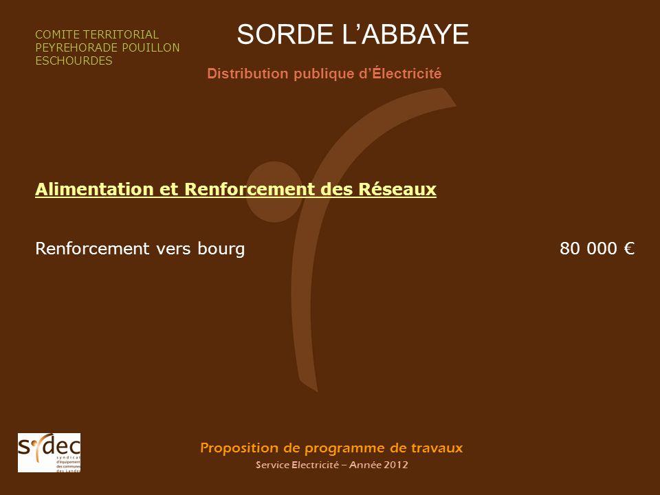 Proposition de programme de travaux Service Electricité – Année 2012 SORDE LABBAYE Distribution publique dÉlectricité COMITE TERRITORIAL PEYREHORADE P