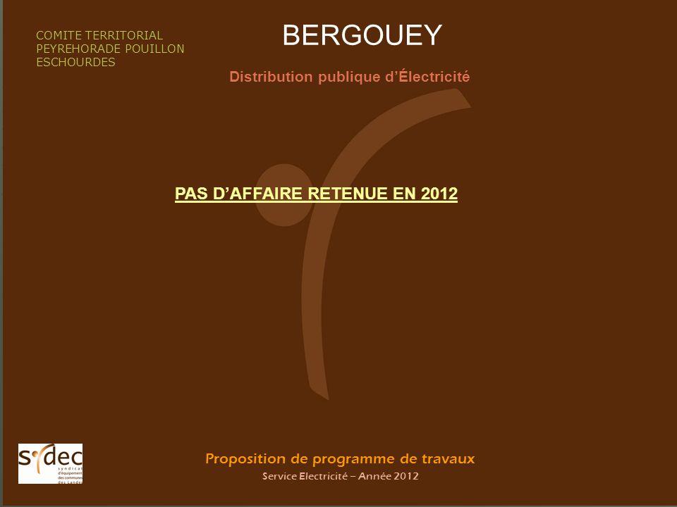 Proposition de programme de travaux Service Electricité – Année 2012 BEYRIES Distribution publique dÉlectricité COMITE TERRITORIAL PEYREHORADE POUILLON ESCHOURDES PAS DAFFAIRE RETENUE EN 2012