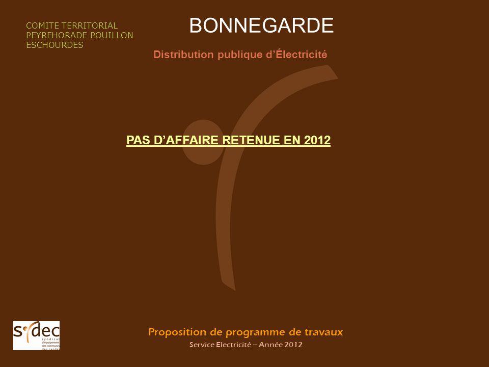 Proposition de programme de travaux Service Electricité – Année 2012 BONNEGARDE Distribution publique dÉlectricité COMITE TERRITORIAL PEYREHORADE POUI