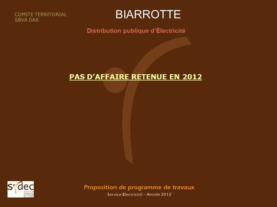 Proposition de programme de travaux Service Electricité – Année 2012 BIARROTTE Distribution publique dÉlectricité COMITE TERRITORIAL SBVA DAX PAS DAFFAIRE RETENUE EN 2012
