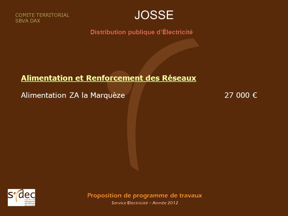Proposition de programme de travaux Service Electricité – Année 2012 JOSSE Distribution publique dÉlectricité COMITE TERRITORIAL SBVA DAX Alimentation et Renforcement des Réseaux Alimentation ZA la Marquèze 27 000