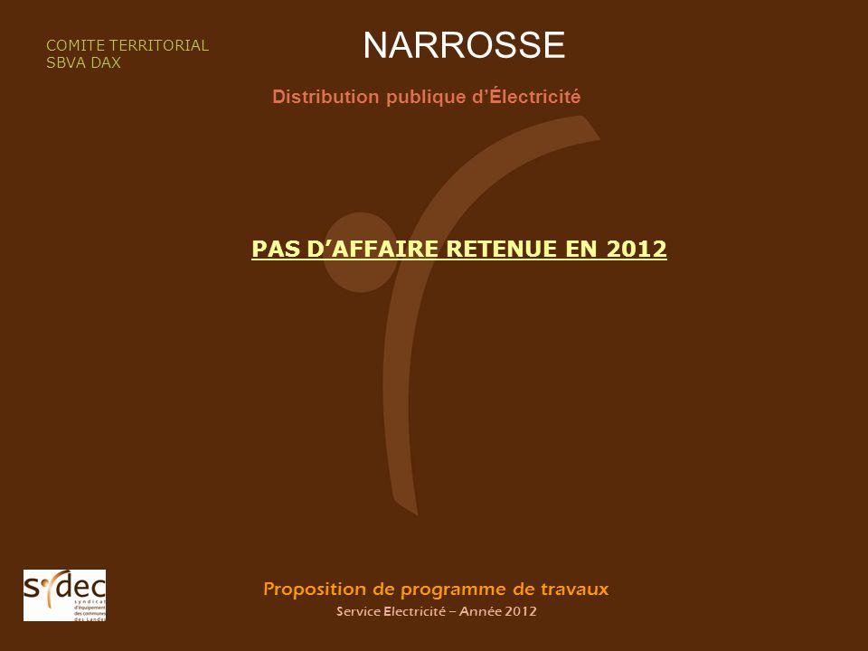 Proposition de programme de travaux Service Electricité – Année 2012 NARROSSE Distribution publique dÉlectricité COMITE TERRITORIAL SBVA DAX PAS DAFFAIRE RETENUE EN 2012