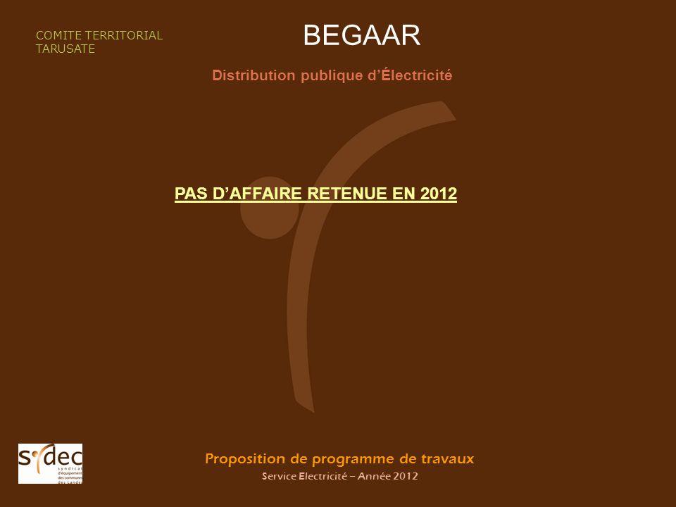 Proposition de programme de travaux Service Electricité – Année 2012 BEGAAR Distribution publique dÉlectricité COMITE TERRITORIAL TARUSATE PAS DAFFAIRE RETENUE EN 2012