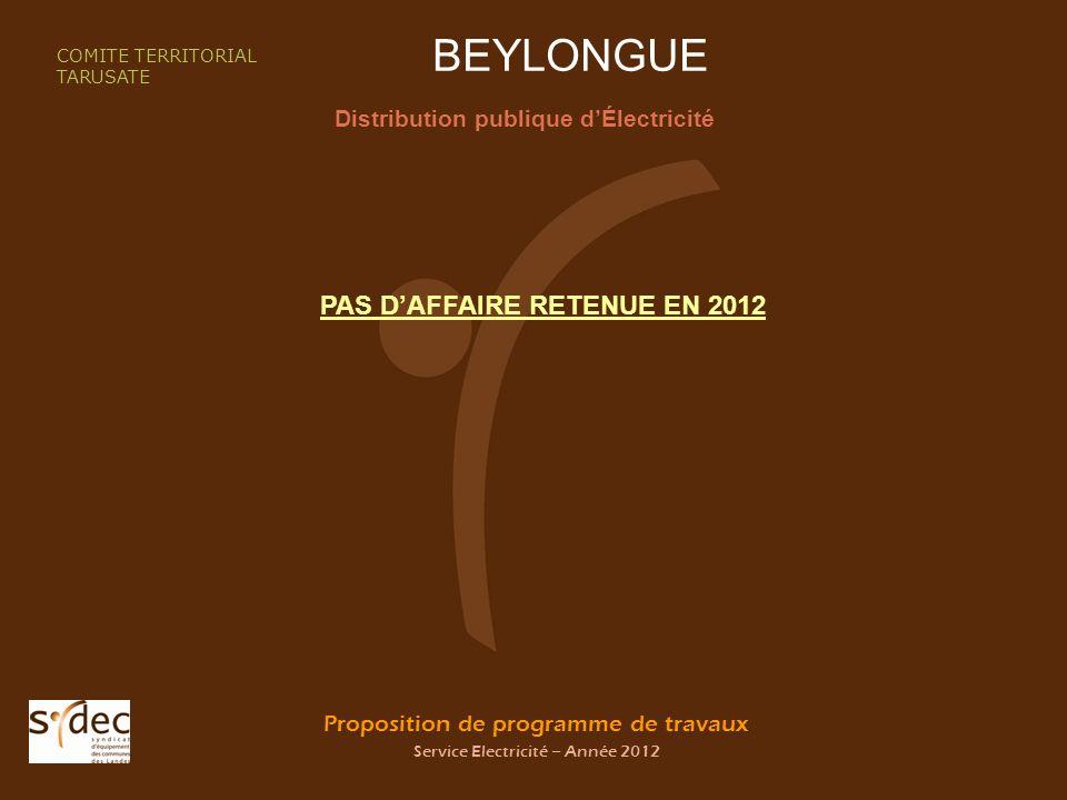 Proposition de programme de travaux Service Electricité – Année 2012 BEYLONGUE Distribution publique dÉlectricité COMITE TERRITORIAL TARUSATE PAS DAFFAIRE RETENUE EN 2012