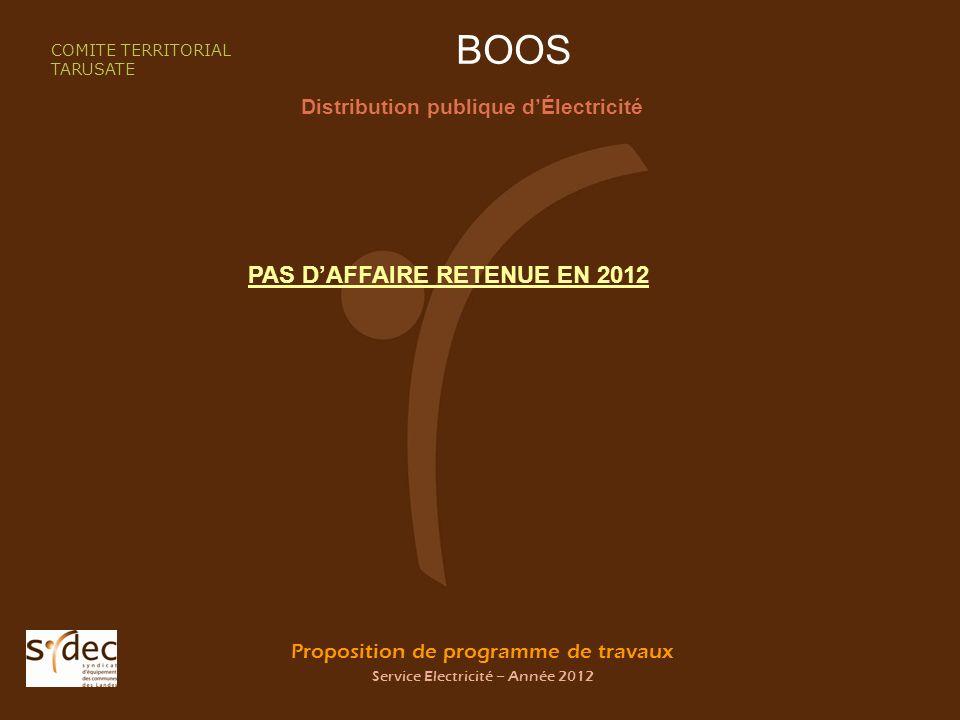 Proposition de programme de travaux Service Electricité – Année 2012 BOOS Distribution publique dÉlectricité COMITE TERRITORIAL TARUSATE PAS DAFFAIRE RETENUE EN 2012