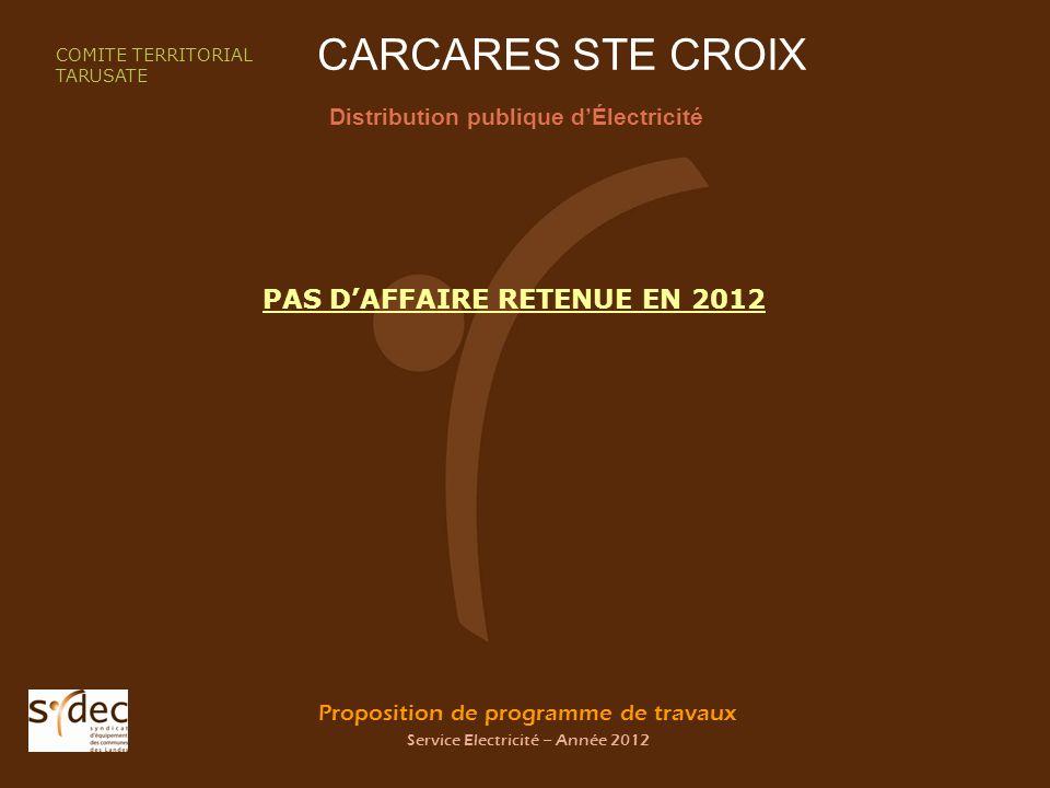 Proposition de programme de travaux Service Electricité – Année 2012 CARCARES STE CROIX Distribution publique dÉlectricité COMITE TERRITORIAL TARUSATE PAS DAFFAIRE RETENUE EN 2012
