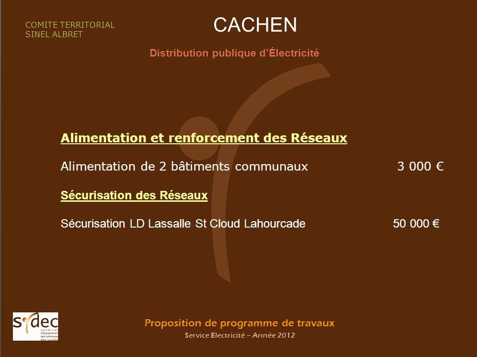 Proposition de programme de travaux Service Electricité – Année 2012 CACHEN Distribution publique dÉlectricité COMITE TERRITORIAL SINEL ALBRET Aliment