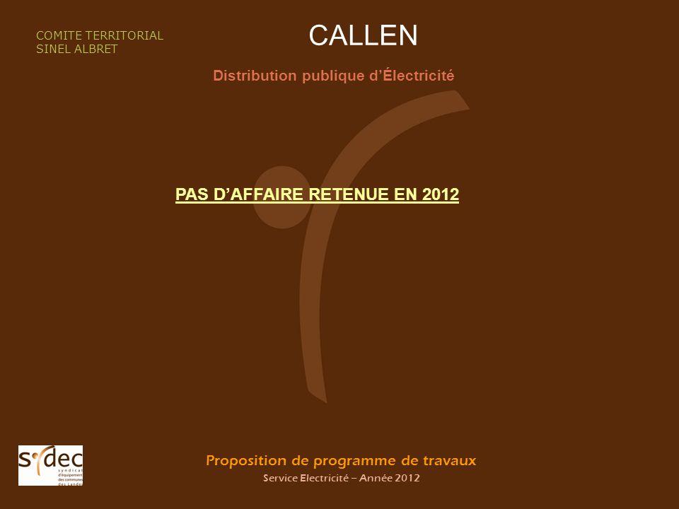 Proposition de programme de travaux Service Electricité – Année 2012 CALLEN Distribution publique dÉlectricité COMITE TERRITORIAL SINEL ALBRET PAS DAFFAIRE RETENUE EN 2012