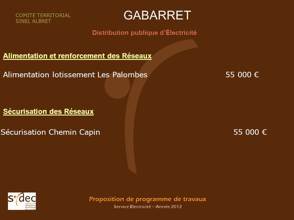Proposition de programme de travaux Service Electricité – Année 2012 GABARRET Distribution publique dÉlectricité COMITE TERRITORIAL SINEL ALBRET Alime
