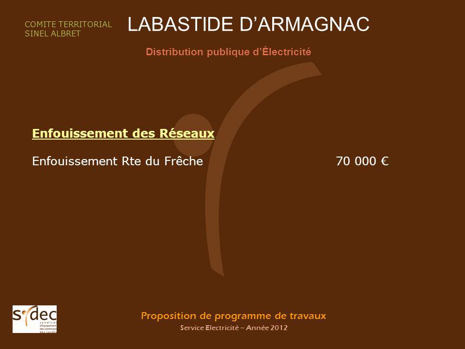 Proposition de programme de travaux Service Electricité – Année 2012 LABASTIDE DARMAGNAC Distribution publique dÉlectricité COMITE TERRITORIAL SINEL A