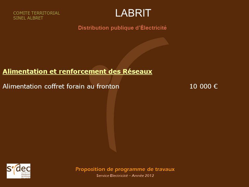 Proposition de programme de travaux Service Electricité – Année 2012 LABRIT Distribution publique dÉlectricité COMITE TERRITORIAL SINEL ALBRET Aliment