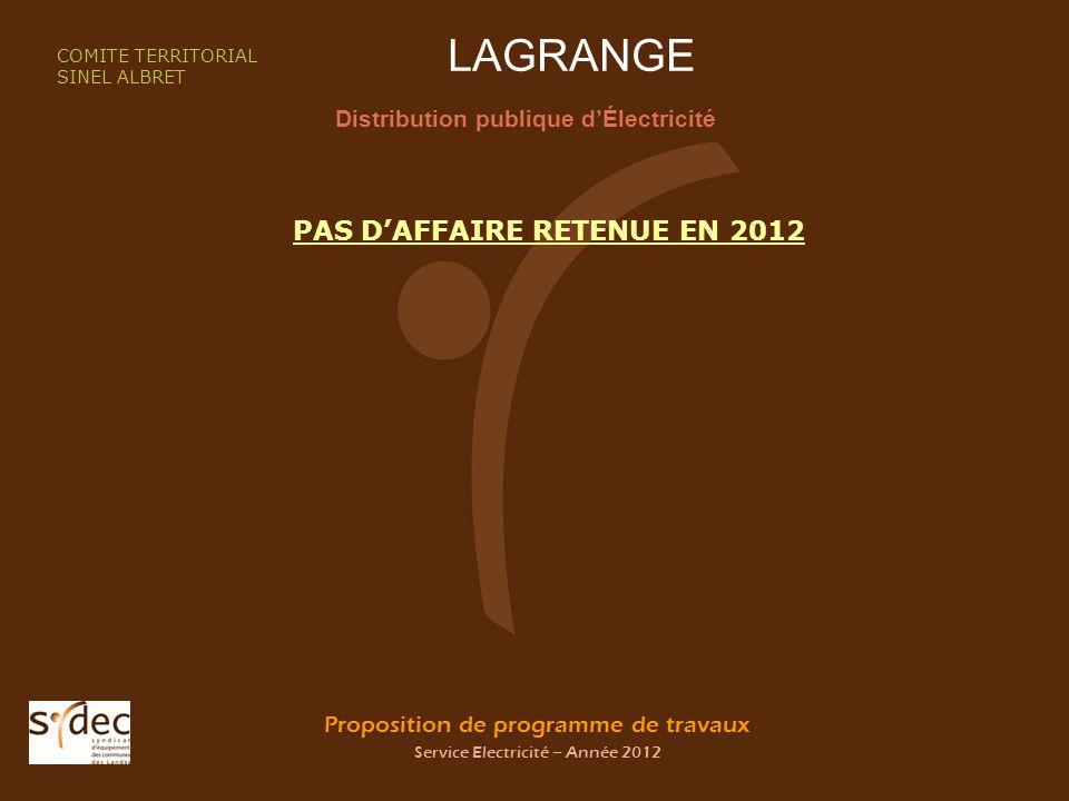 Proposition de programme de travaux Service Electricité – Année 2012 LAGRANGE Distribution publique dÉlectricité COMITE TERRITORIAL SINEL ALBRET PAS DAFFAIRE RETENUE EN 2012