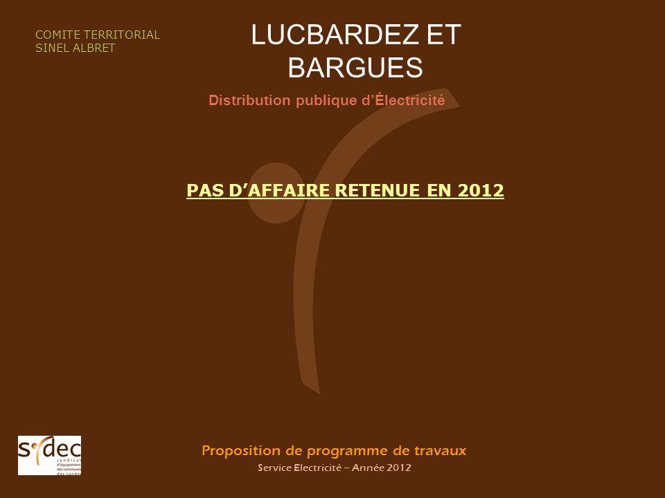 Proposition de programme de travaux Service Electricité – Année 2012 LUCBARDEZ ET BARGUES Distribution publique dÉlectricité COMITE TERRITORIAL SINEL ALBRET PAS DAFFAIRE RETENUE EN 2012