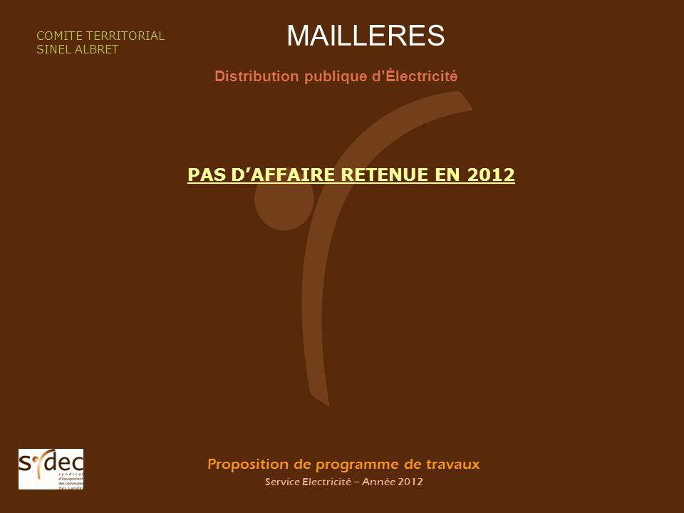 Proposition de programme de travaux Service Electricité – Année 2012 MAILLERES Distribution publique dÉlectricité COMITE TERRITORIAL SINEL ALBRET PAS DAFFAIRE RETENUE EN 2012