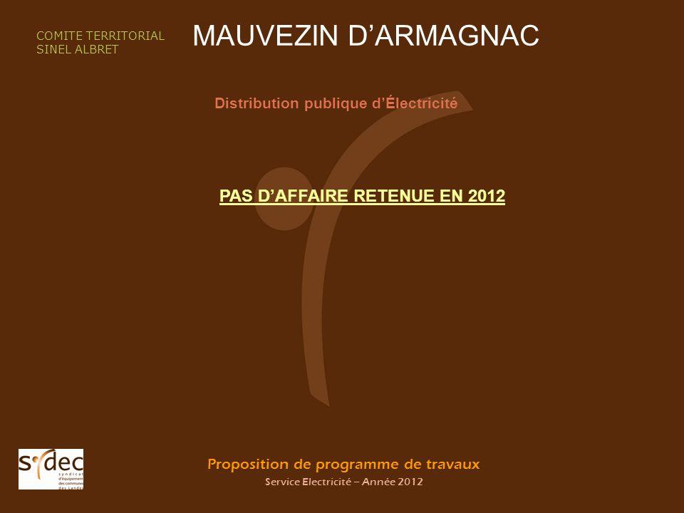 Proposition de programme de travaux Service Electricité – Année 2012 MAUVEZIN DARMAGNAC Distribution publique dÉlectricité COMITE TERRITORIAL SINEL ALBRET PAS DAFFAIRE RETENUE EN 2012