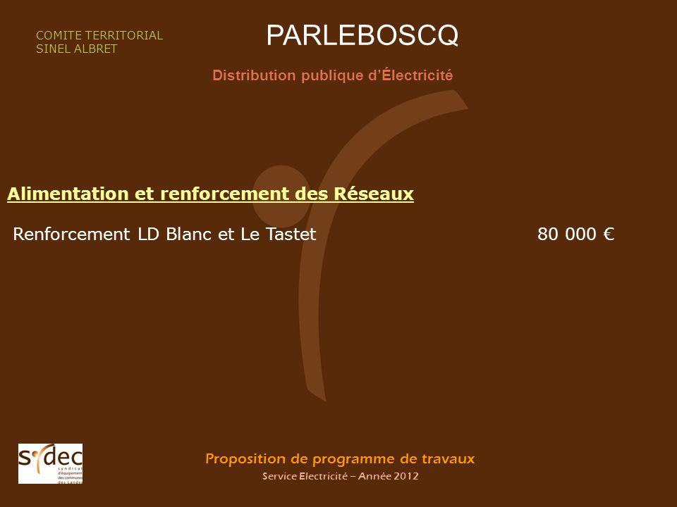 Proposition de programme de travaux Service Electricité – Année 2012 PARLEBOSCQ Distribution publique dÉlectricité COMITE TERRITORIAL SINEL ALBRET Ali