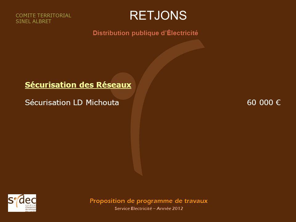 Proposition de programme de travaux Service Electricité – Année 2012 RETJONS Distribution publique dÉlectricité COMITE TERRITORIAL SINEL ALBRET Sécuri