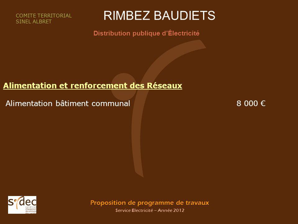 Proposition de programme de travaux Service Electricité – Année 2012 RIMBEZ BAUDIETS Distribution publique dÉlectricité COMITE TERRITORIAL SINEL ALBRE