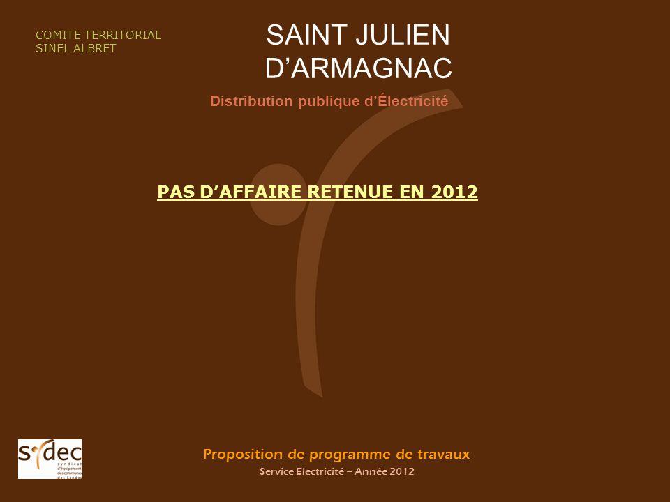 Proposition de programme de travaux Service Electricité – Année 2012 SAINT JULIEN DARMAGNAC Distribution publique dÉlectricité COMITE TERRITORIAL SINEL ALBRET PAS DAFFAIRE RETENUE EN 2012