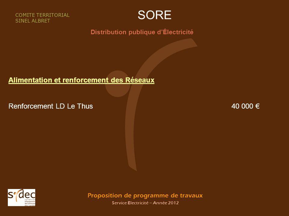Proposition de programme de travaux Service Electricité – Année 2012 SORE Distribution publique dÉlectricité COMITE TERRITORIAL SINEL ALBRET Alimentat