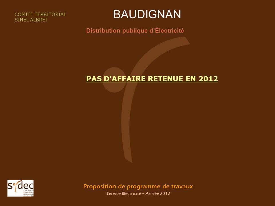 Proposition de programme de travaux Service Electricité – Année 2012 BAUDIGNAN Distribution publique dÉlectricité COMITE TERRITORIAL SINEL ALBRET PAS DAFFAIRE RETENUE EN 2012