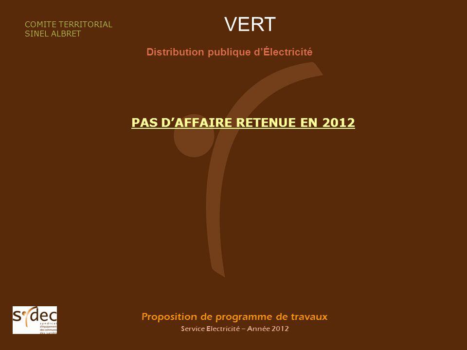 Proposition de programme de travaux Service Electricité – Année 2012 VERT Distribution publique dÉlectricité COMITE TERRITORIAL SINEL ALBRET PAS DAFFAIRE RETENUE EN 2012