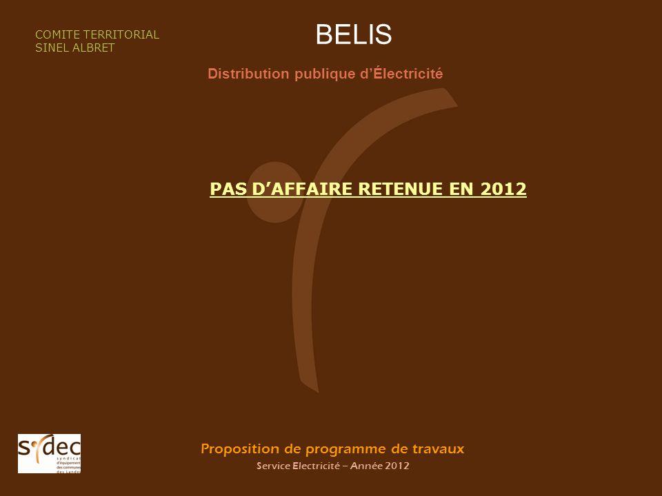 Proposition de programme de travaux Service Electricité – Année 2012 BELIS Distribution publique dÉlectricité COMITE TERRITORIAL SINEL ALBRET PAS DAFFAIRE RETENUE EN 2012