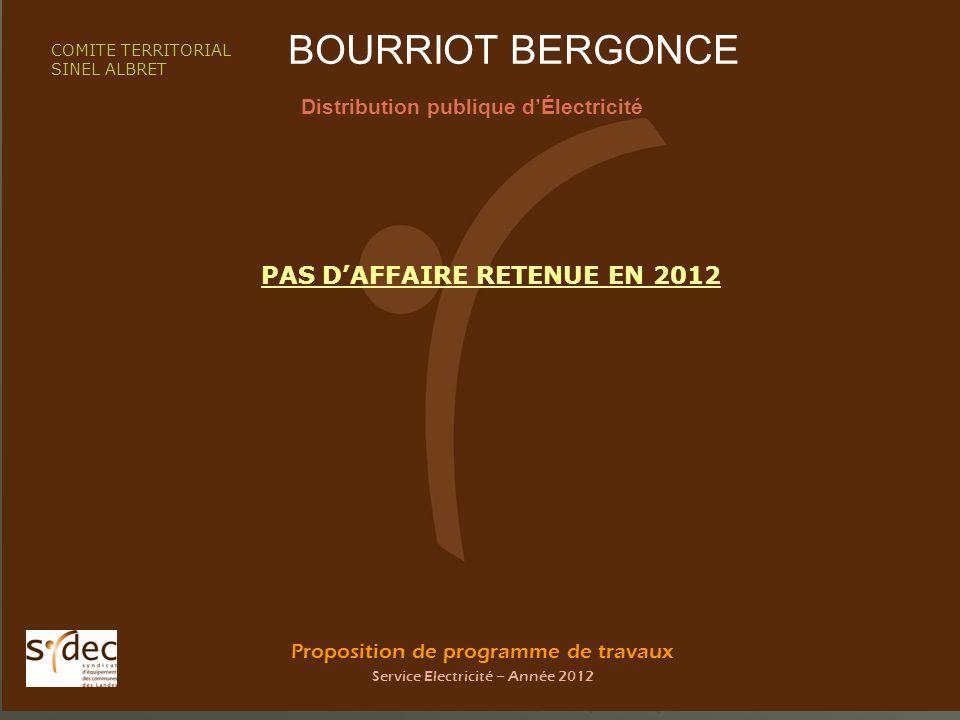 Proposition de programme de travaux Service Electricité – Année 2012 BOURRIOT BERGONCE Distribution publique dÉlectricité COMITE TERRITORIAL SINEL ALBRET PAS DAFFAIRE RETENUE EN 2012
