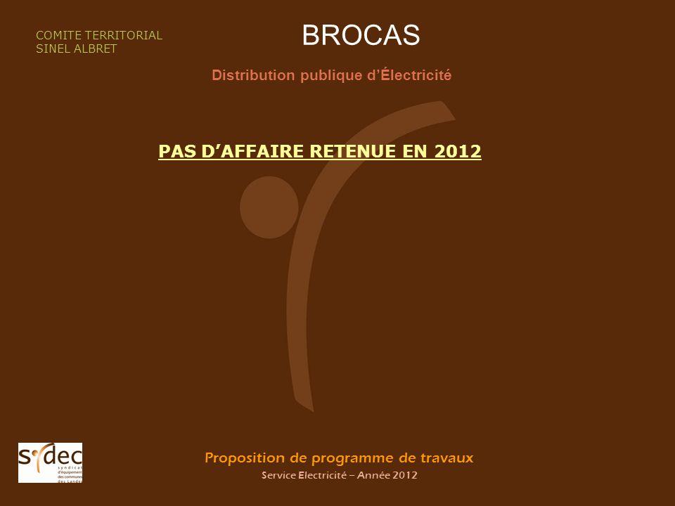 Proposition de programme de travaux Service Electricité – Année 2012 BROCAS Distribution publique dÉlectricité COMITE TERRITORIAL SINEL ALBRET PAS DAFFAIRE RETENUE EN 2012