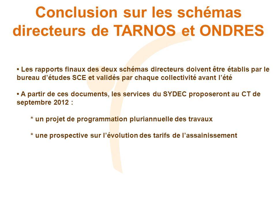 Conclusion sur les schémas directeurs de TARNOS et ONDRES Les rapports finaux des deux schémas directeurs doivent être établis par le bureau détudes S
