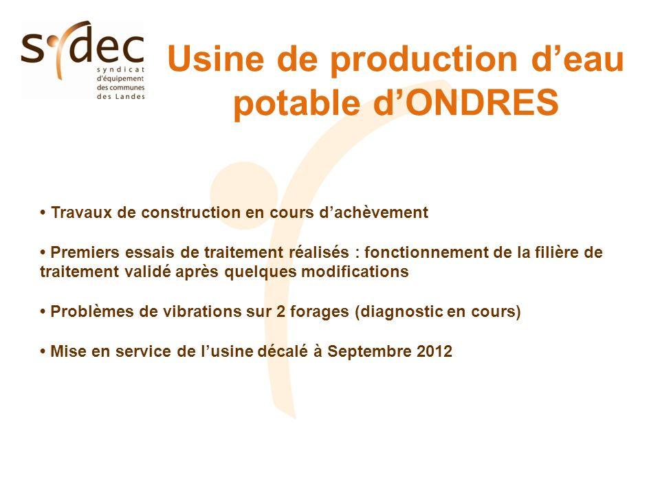 Usine de production deau potable dONDRES Travaux de construction en cours dachèvement Premiers essais de traitement réalisés : fonctionnement de la fi