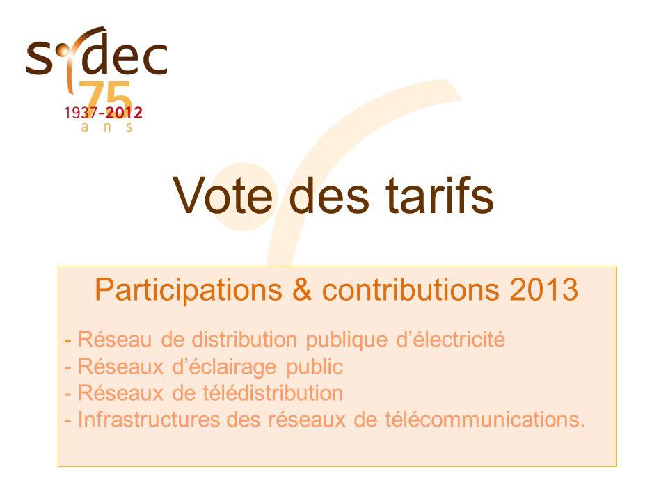 Vote des tarifs Participations & contributions 2013 - Réseau de distribution publique délectricité - Réseaux déclairage public - Réseaux de télédistri