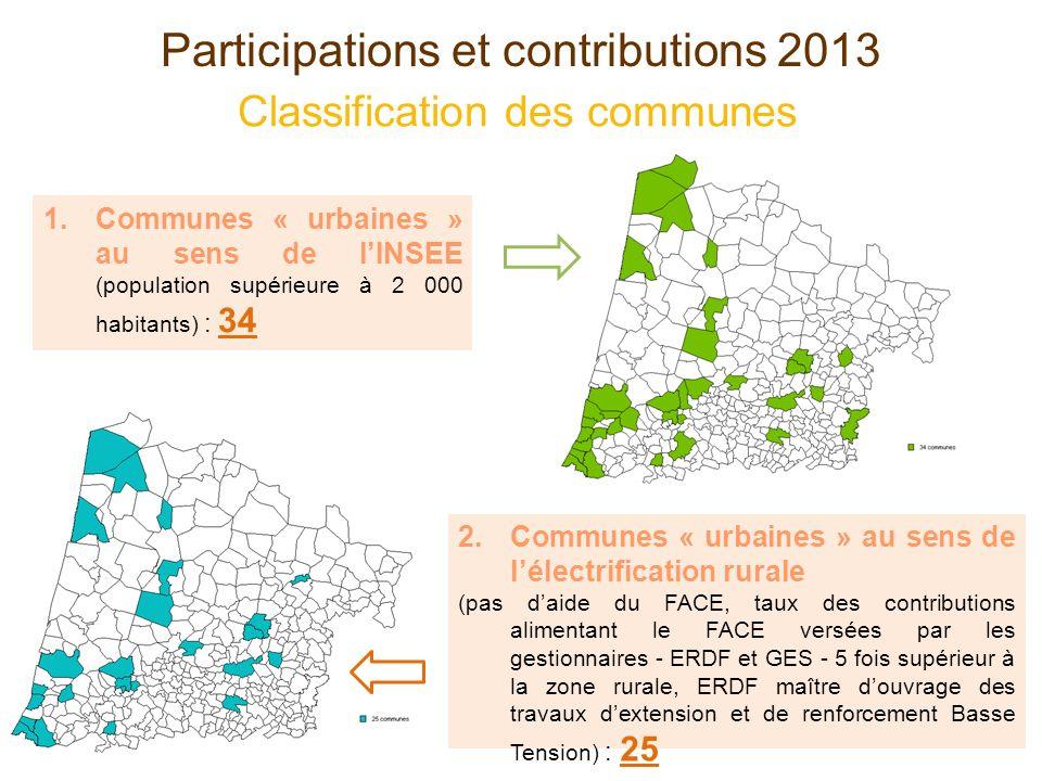 Participations et contributions 2013 Classification des communes 1.Communes « urbaines » au sens de lINSEE (population supérieure à 2 000 habitants) :