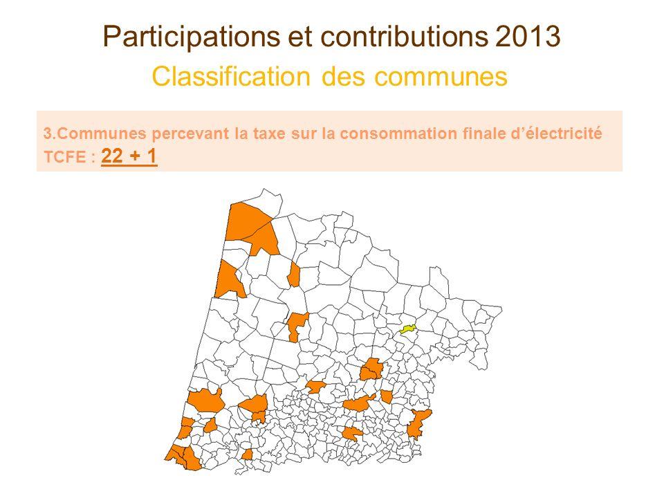 Participations et contributions 2013 Classification des communes Communes percevant la taxe sur la consommation finale délectricité : 22 + 1 COMMUNES AIRE SUR LADOURPARENTIS EN BORN BISCARROSSEPEYREHORADE CAPBRETON(ROQUEFORT) DAXSAINT MARTIN DE SEIGNANX GRENADE SUR LADOUR SAINT PAUL LES DAX HAGETMAUSAINT PIERRE DU MONT LABOUHEYRESAINT SEVER MIMIZANSAINT VINCENT DE TYROSSE MONT DE MARSANSOORTS HOSSEGOR MORCENXSOUSTONS ONDRESTARNOS TARTAS