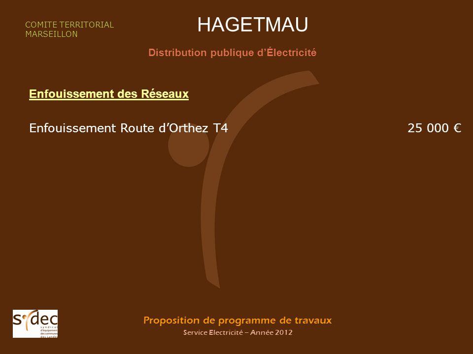 Proposition de programme de travaux Service Electricité – Année 2012 HAGETMAU Distribution publique dÉlectricité COMITE TERRITORIAL MARSEILLON Enfouissement des Réseaux Enfouissement Route dOrthez T425 000