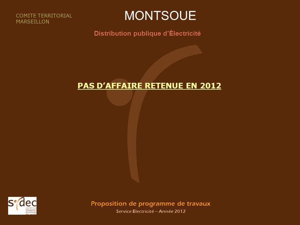 Proposition de programme de travaux Service Electricité – Année 2012 MONTSOUE Distribution publique dÉlectricité COMITE TERRITORIAL MARSEILLON PAS DAFFAIRE RETENUE EN 2012