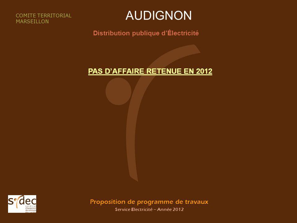 Proposition de programme de travaux Service Electricité – Année 2012 AUDIGNON Distribution publique dÉlectricité COMITE TERRITORIAL MARSEILLON PAS DAFFAIRE RETENUE EN 2012