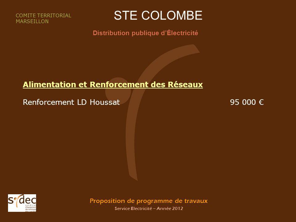 Proposition de programme de travaux Service Electricité – Année 2012 STE COLOMBE Distribution publique dÉlectricité COMITE TERRITORIAL MARSEILLON Alimentation et Renforcement des Réseaux Renforcement LD Houssat95 000